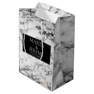 Bolsa De Regalo Mediana Mármol blanco elegante con negro
