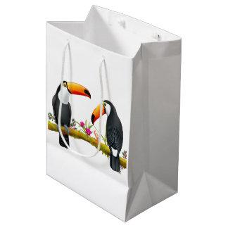 Bolsa De Regalo Mediana Medio tropical del bolso del regalo de los pájaros