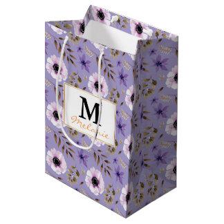 Bolsa De Regalo Mediana Modelo botánico floral púrpura dibujado romántico