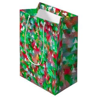 Bolsa De Regalo Mediana Modelo de la acuarela del árbol de navidad