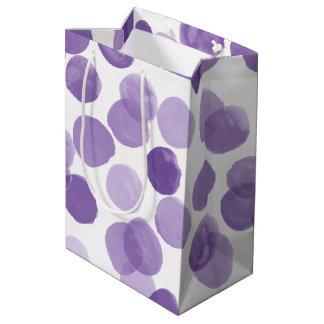 Bolsa De Regalo Mediana Modelo de puntos púrpura grande