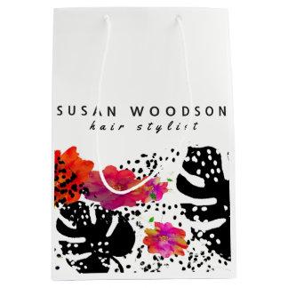 Bolsa De Regalo Mediana Modelo intrépido floral de Monstera de la acuarela