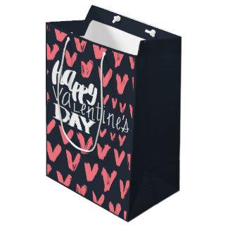 Bolsa De Regalo Mediana Modelo rosado indicado con letras de los corazones