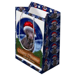Bolsa De Regalo Mediana Navidad del labrador retriever del chocolate