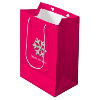 Bolsa De Regalo Mediana Navidad del rosa del copo de nieve de las rosas