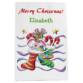 Bolsa De Regalo Mediana Navidad lindo que almacena el conejito