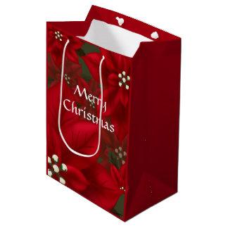 Bolsa De Regalo Mediana Navidad rojo MGB del Poinsettia