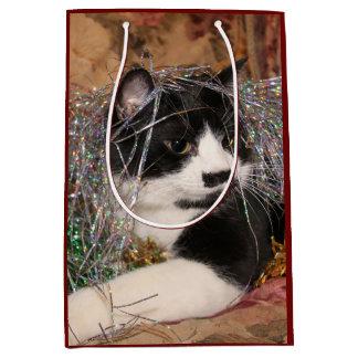 Bolsa De Regalo Mediana Navidad travieso del gatito del smoking