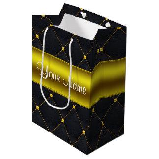 Bolsa De Regalo Mediana Negro acolchado con clase y oro personalizados