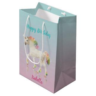 Bolsa De Regalo Mediana Nombre del unicornio del arco iris del cumpleaños