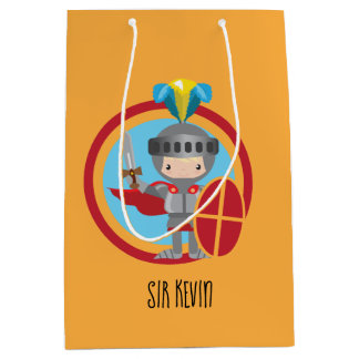 Bolsa De Regalo Mediana Pequeño caballero en armadura con el escudo rojo