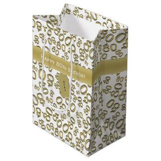 Bolsa De Regalo Mediana Personalice:  80.o oro feliz del cumpleaños/blanco