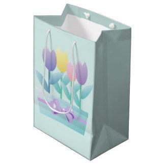 Bolsa De Regalo Mediana Personalizado feliz lindo MGB de los tulipanes de