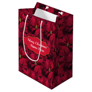 Bolsa De Regalo Mediana Poinsettias rojos