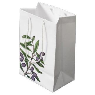 Bolsa De Regalo Mediana Púrpura verde de la rama de olivo el |