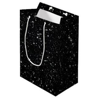 Bolsa De Regalo Mediana Purpurina Stars2 - Negro de plata