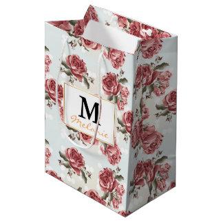 Bolsa De Regalo Mediana Ramo dibujado romántico de los rosas rojos del