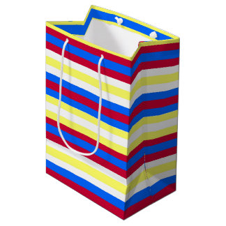 Bolsa De Regalo Mediana Rayas amarillas, rojas, blancas y azules
