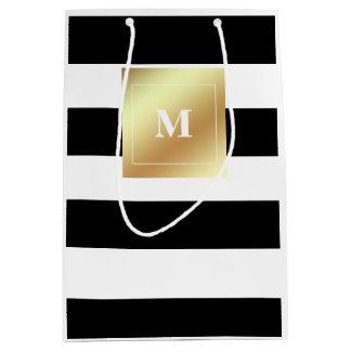 Bolsa De Regalo Mediana Rayas blancos y negros con el falso monograma del