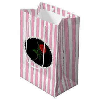 Bolsa De Regalo Mediana Rayas, perlas y bolso rosados elegantes del regalo