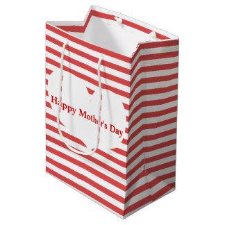 Bolsa De Regalo Mediana Rayas y bolso rojos del regalo del día de madre
