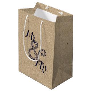 Bolsa De Regalo Mediana Sr. y señora Party Gift Bag del boda del otoño de