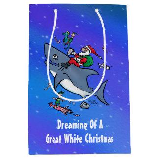 Bolsa De Regalo Mediana Sueño con navidad el gran de un tiburón blanco de