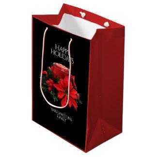 Bolsa De Regalo Mediana Velas, acebo, y Poinsettia rojos festivos del