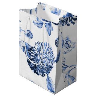Bolsa De Regalo Mediana Vintage azul Toile floral botánico del bígaro