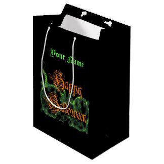 Bolsa De Regalo Mediana Volutas verdes fantasmales del feliz Halloween