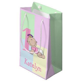 Bolsa De Regalo Pequeña 1r cumpleaños de la niña linda del dibujo animado
