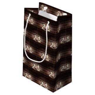 Bolsa De Regalo Pequeña 21ras luces de la cumpleaños-marca en ladrillo