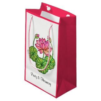 Bolsa De Regalo Pequeña Acuarela Lotus rosado con los brotes y las hojas