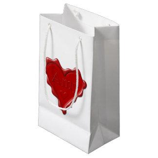 Bolsa De Regalo Pequeña Amy. Sello rojo de la cera del corazón con el Amy