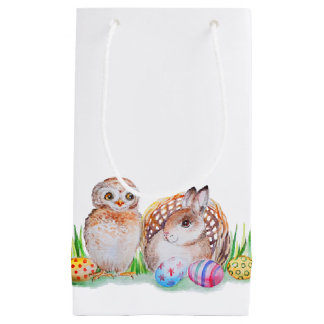 Bolsa De Regalo Pequeña Arte de Pascua del búho y del conejito