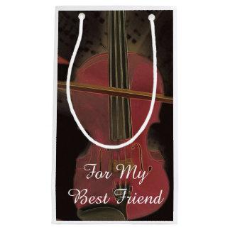 Bolsa De Regalo Pequeña Arte rosado del mejor amigo del violín