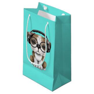 Bolsa De Regalo Pequeña Auriculares que llevan de DJ del perrito lindo del