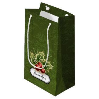 Bolsa De Regalo Pequeña Baya brillante del acebo en modelo del damasco con