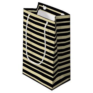 Bolsa De Regalo Pequeña Beige grueso y fino y rayas negras