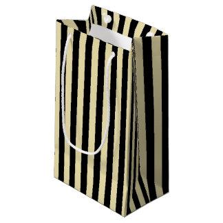 Bolsa De Regalo Pequeña Beige vertical y rayas negras