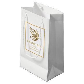 Bolsa De Regalo Pequeña Boda de la mariposa del brillo del oro del vintage