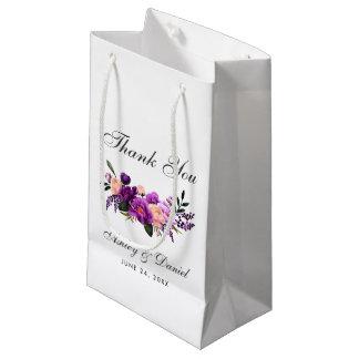 Bolsa De Regalo Pequeña Boda floral de la acuarela púrpura ultravioleta