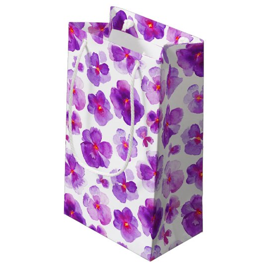 Bolsa De Regalo Pequeña Bolso blanco púrpura del regalo del arte de la