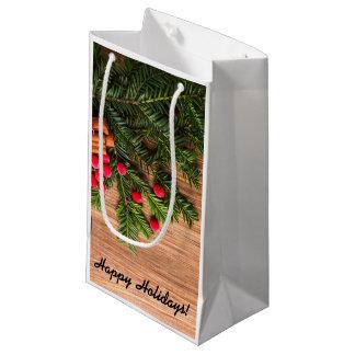Bolsa De Regalo Pequeña Bolso del regalo de vacaciones - pino y bayas