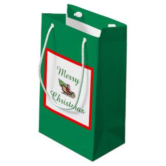 Bolsa De Regalo Pequeña Bolso del regalo del verde de las Felices Navidad