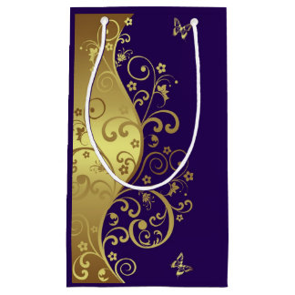 Bolsa De Regalo Pequeña Bolso del regalo--Remolinos del oro y púrpura