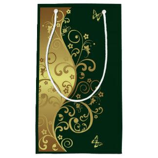 Bolsa De Regalo Pequeña Bolso del regalo--Remolinos del oro y verde oscuro