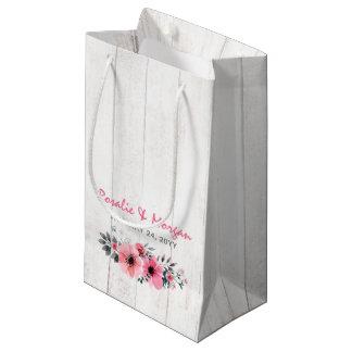Bolsa De Regalo Pequeña Bolso floral de madera rústico del favor del boda