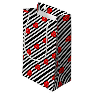 Bolsa De Regalo Pequeña Bolso rayado blanco del regalo del negro rojo de