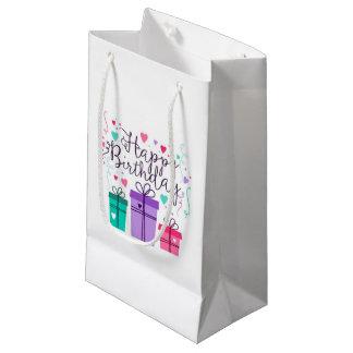 Bolsa De Regalo Pequeña Bolsos blancos del regalo del feliz cumpleaños